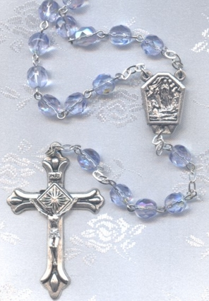 Lourdes Catholic Rosary with Lourdes Water Centerpiece